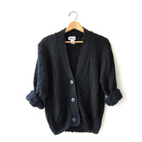 vintage black loose knit sweater. black cardigan sweater.
