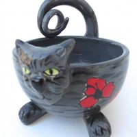 Handmade Ceramic Grey Tabby Cat bowl