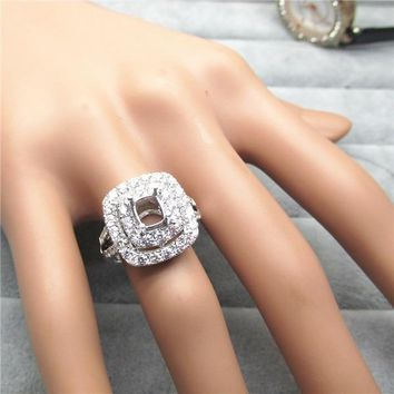 Cushion 5x6mm Solid 14K  White Gold Natural Diamond Engagement Semi mount Ring