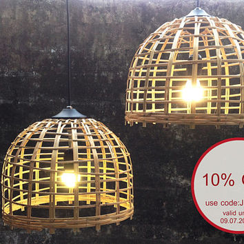 set of 2 handcrafted wicker bamboo  basket  pendant light,bamboo woven shade hanging lamp size 35cm.