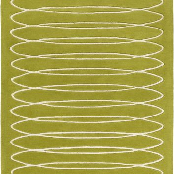 Solid Bold Geometric Area Rug Green