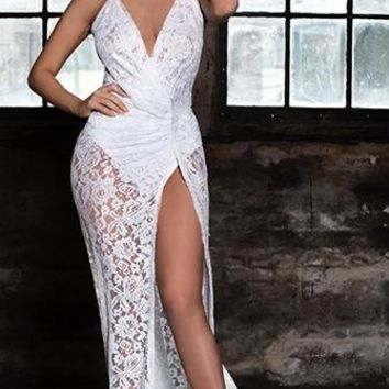 Make It Happen White Sheer Lace Sleeveless Spaghetti Strap Plunge V Neck Backless Halter Side Slit Maxi Dress