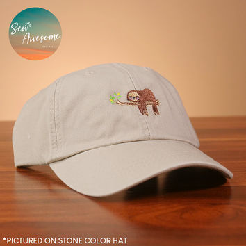 Sloth Dad Hat, Cute Baseball Cap, Animal Custom Embroidery, Adorable Best Friend Gift, Personalized, Embroidered Hat