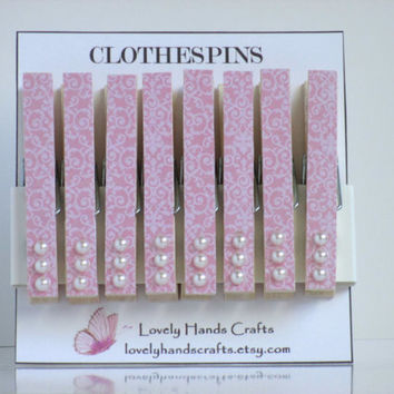 Pink and White Decorative Wooden Clothespins - Set of 8
