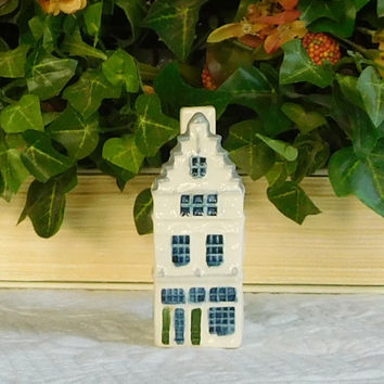 Holland Dutch Pottery Ceramic Miniature House Signed Amsterdam Prinsengracht Royal Goedewaagen Poly Delft Painted by Hand