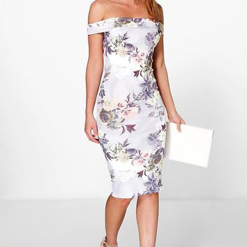 Bridgie Off The Shoulder Floral Midi Dress | Boohoo