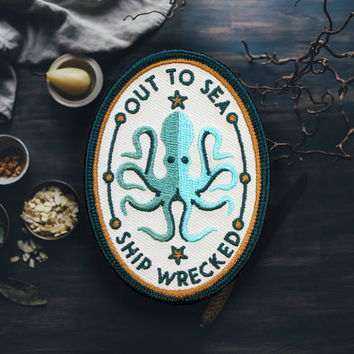 "An Octopus that Enjoys Delicious Ships Patch | Sew On | Embroidered | Patches for Jackets | 3.25"" (Free Shipping US)"