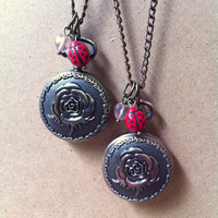 Lovebug: rose pocket watch with heart and ladybug beads necklace