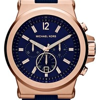 Men's Michael Kors 'Dylan' Chronograph Silicone Strap Watch, 48mm - Navy/ Rose Gold