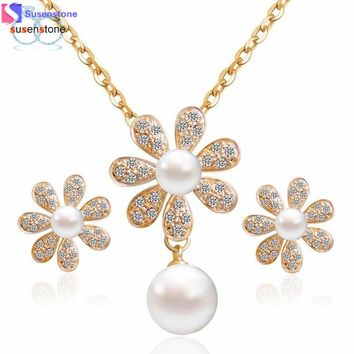 Crystal Party Statement Flower Shaped Necklace Earring Set