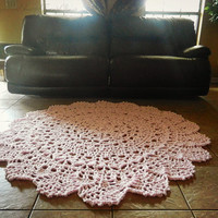 Crochet Doily Rug, soft pink- light pink- rose- Lace area rug, Cottage Chic- Oversized- shabby rustic home decor- round rug- French Country
