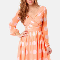 Polka Latte Peach Polka Dot Dress