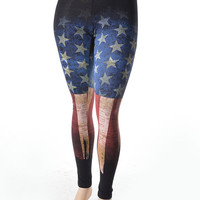 Womens Burnout American USA Flag plus size leggings