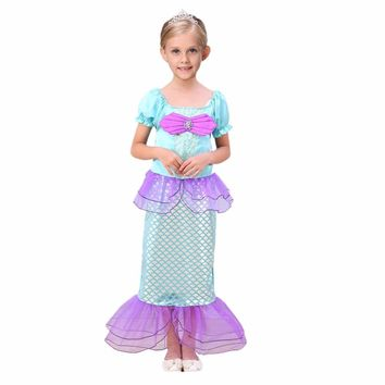 Hot Sell Customs Little Mermaid Dress Children Mermaid Kids Girls Dress Princess Cosplay Party Princess Ariel Swiming Clothing