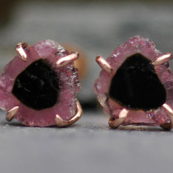 Pink and Black Raw Tourmaline Slices in 14k Rose Gold Earrings- Ready to Ship