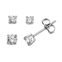 Cubic Zirconia Sterling Silver Stud Earring Set (Grey)