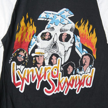 80s Vintage LYNYRD SKYNYRD Baseball T shirt // Deadstock // Never been worn // Band shirt Size Small