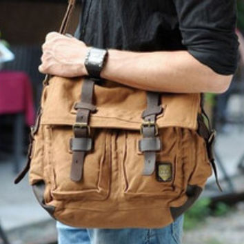 Brown Military Style Messenger Bag Larger Version uniquely