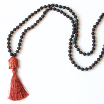 Long Mala Bead Necklace: 108 Handknotted Agarwood Mala with Red River Jasper Buddha Head and Silk Tassel