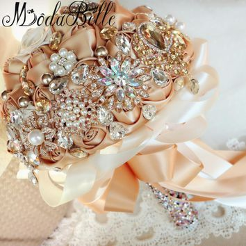 Modabelle Luxury Champagne Gold Wedding Bouquets Bling Crystal Pearls Shining European Wedding Flowers Bridal Bouquets Brooch