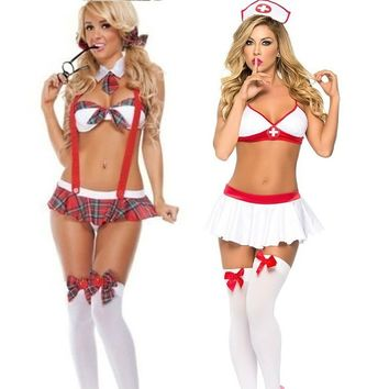 School Girl Uniform Costume Sexy Lingerie Uniform Halter Suspender Halloween Cosplay Fancy Dress Red (Size: One Size, Color: Red