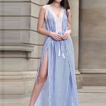 Striped Tassels Split Women's Maxi Dress