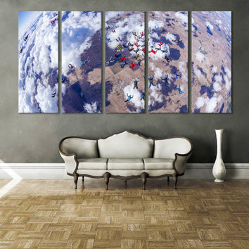 Skydiving Extreme Sports Wall Art / Sports Gift Idea for Him / Skydiving Photography Canvas Print / Parachuting Sports Canvas Print for Home