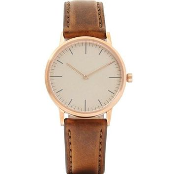 Uniform Wares Gold Italian Leather Watch