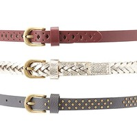 Studded, Perforated, & Metallic Belts - 3 Pack