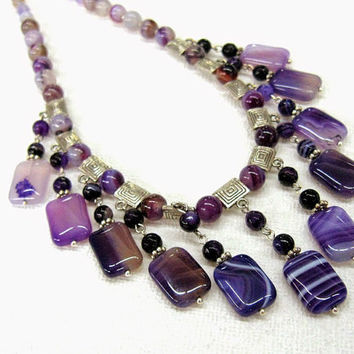 Light Purple Agate Statement Necklace, fashion geometric rectangular dangle collier, fringe bib necklace, stripy natural gemstone OOAK