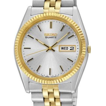 Seiko Mens Day/Date Dress Watch - Stainless and Gold Tone