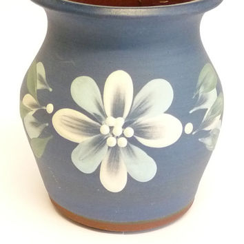 Vase, Navy or Dark Blue, White and Green, Floral Pattern, Studio Pottery, Bulbous Body, Hand Thrown, Hand Painted, Hand Crafted