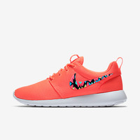 Womens Custom Nike Roshe Run sneakers, Infrared, Aqua, Teal, Lime, trendy design, Cute nikes, Customized swoosh, LIMITED QUANTITY!