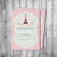 Paris Birthday Invitation Girl Eiffel Tower Invite Oh La La French Theme Party Green Pink Flowers Polka Dots (Printable file DIY Template)