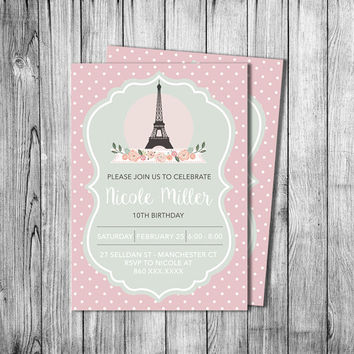 Shop Paris Themed Parties On Wanelo - Invitation in french to birthday party