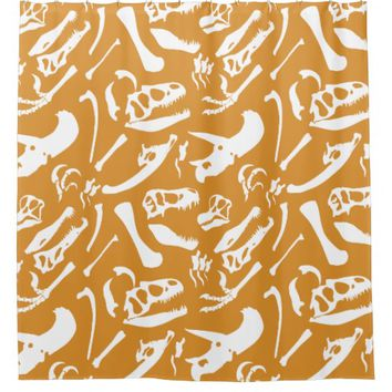 Dinosaur Bones (Gold) Shower Curtain