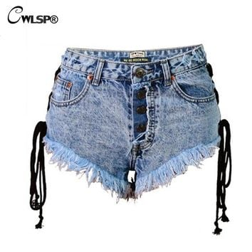 Hot Shorts CWLSP Sexy High Waist  Jeans for women Side Cross Lace Up High Street Denim bf Punk  spodenki damskie QL3189AT_43_3