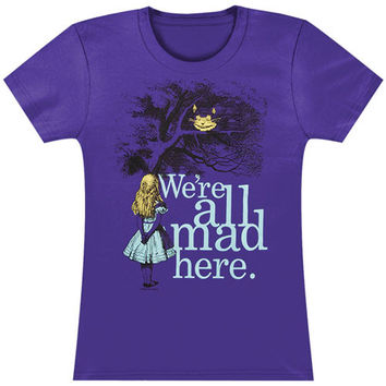Alice In Wonderland  We're All Mad Here Girls Jr Soft Tee Purple