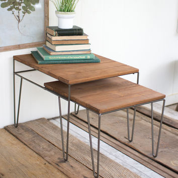 Set of 2 Sliding Recycled Honey Wood & Metal Tables