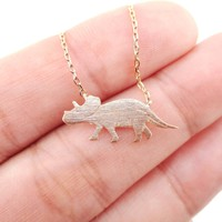 Triceratops Dinosaur Silhouette Jurassic World Themed Charm Necklace in Rose Gold