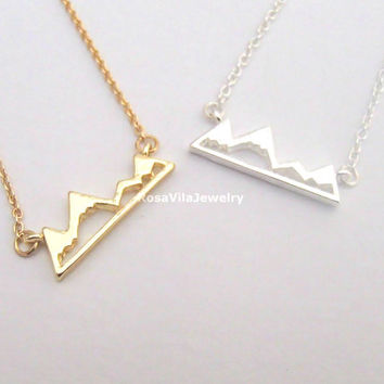Mountain Necklace - 2 colors available (gold and silver) - dainty, cute, chic, modern, outdoor and lovely jewelry