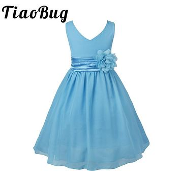 TiaoBug Kids Girls V-Neck Flower Girl Chiffon Dresses for Children Wedding First Communion Dresses Formal Party Prom Dress 2-14Y