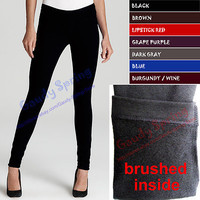 THICK Brushed Lining Stretch Fleece Thermal Comfy Long Warm Leggings XS S M L XL