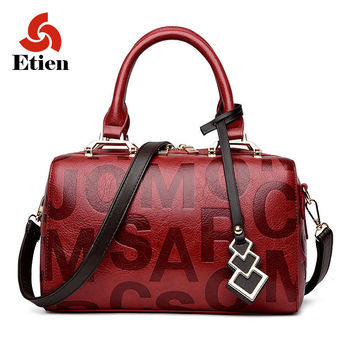 Women's mini satchel messenger bag cow leather embossed letters for a hip street look - 6 Colors