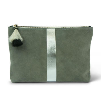 Storm Silver-Suede Pouch