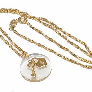 1-2430-1717-f27 18kt Brazilian Gold Filled Floating Lock and Key Necklace. 18 inch Singapore chain, 20mm bubble.