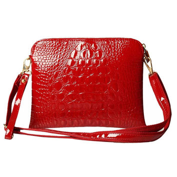 Women Messenger Shoulder Bag/ Purse with PU Leather Crocodile Design in Red or Blue