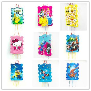 HOT 1pcs  Minnie Mouse Emoji Sophia Avenger Minion pinata children birthday party favours funny game folded pinata baby happy