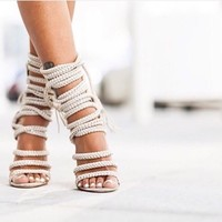 Strappy Rope Style Peep Toe High Heel Sandals