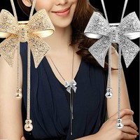 $3.99 Long Rhinestone Statement Shiny Bow Pendant Silver Plated Butterfly Chain